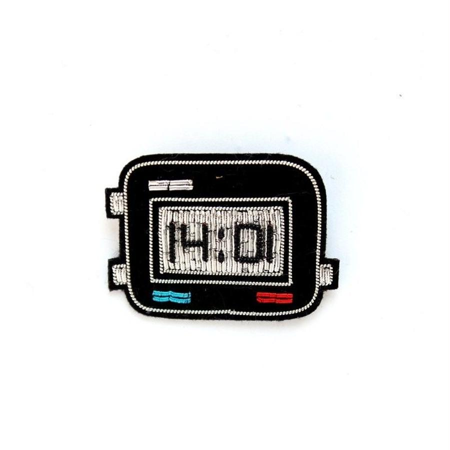 "SMALL HAND-EMBROIDERED ""DIGITAL WATCH"" PIN ブローチ"