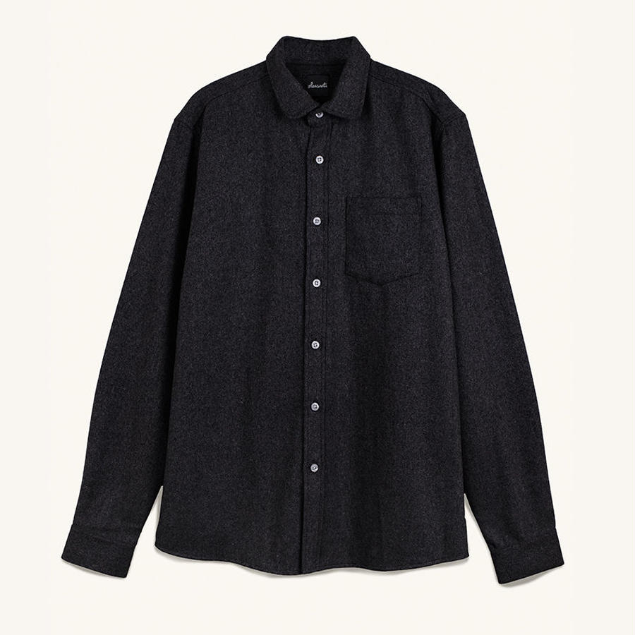 [PLEASANT] DARK WOOL SHIRT