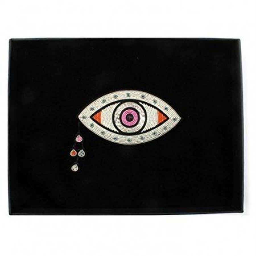 "(マコンエレスコア)MACON & LESQUOY VERY LARGE HAND-EMBROIDERED ""CHETTINAD EYE"" BROOCH"