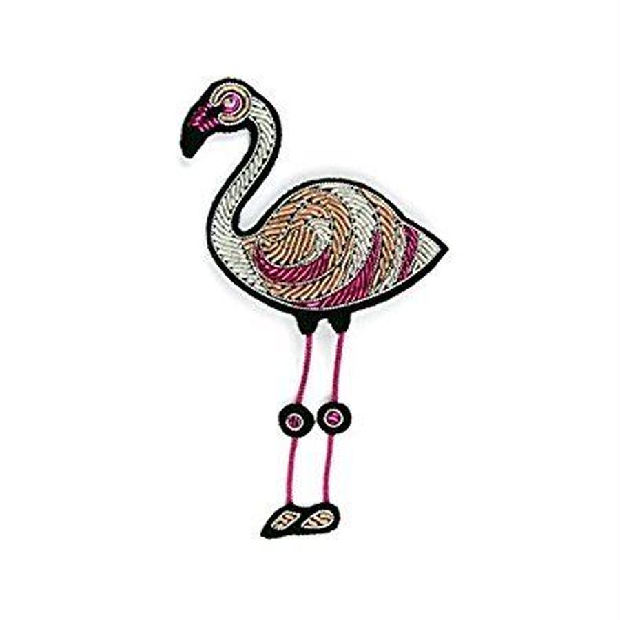 "(マコンエレスコア)MACON & LESQUOY hand-embroidered ""Pink Flamingo"" brooch"