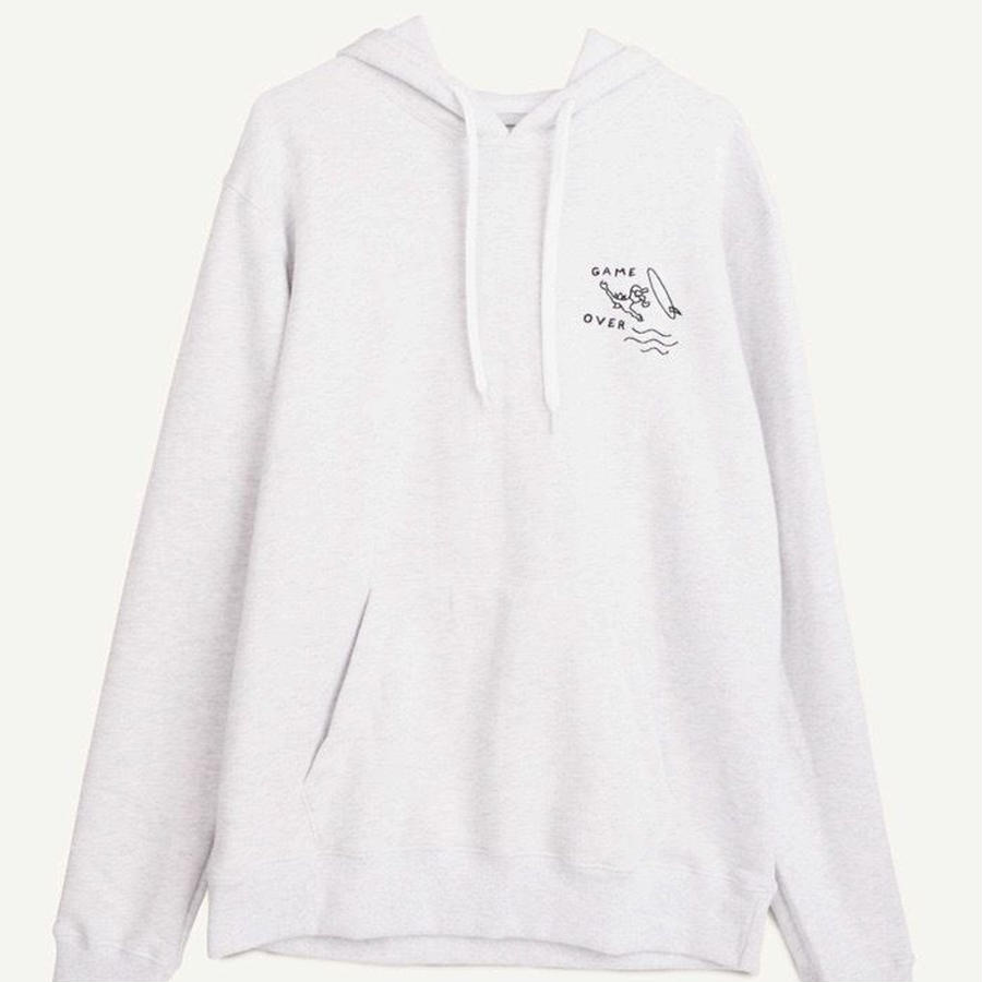 Hoody chest embroidery white