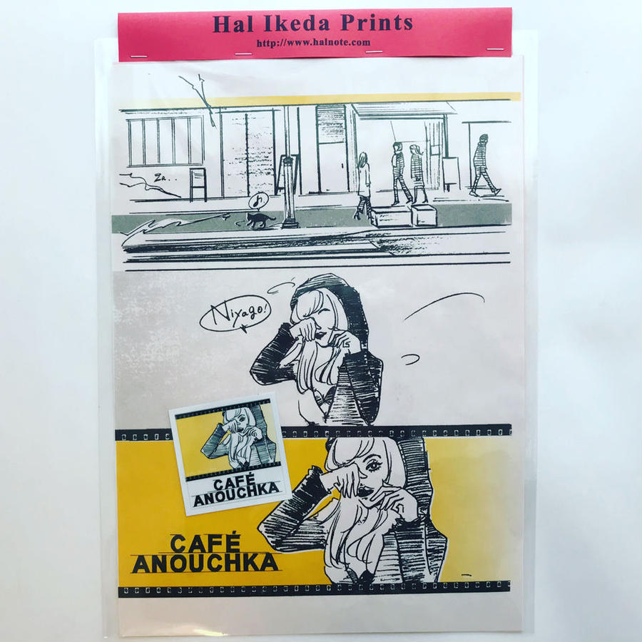 CAFÉ ANOUCHKA 1,2,3 ◎カフェ・アヌーシュカ・リソグラフポスター&ステッカーset
