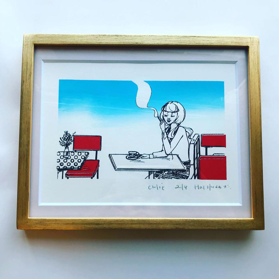"""版画 """"Café Anouchka, Chloé 1"""""""