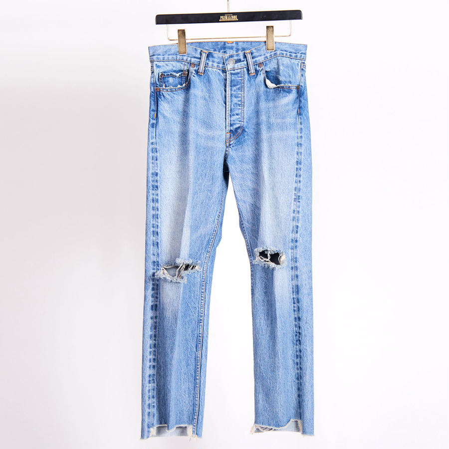 CENTER PRESS DENIM CRASH PANTS(INDIGO)