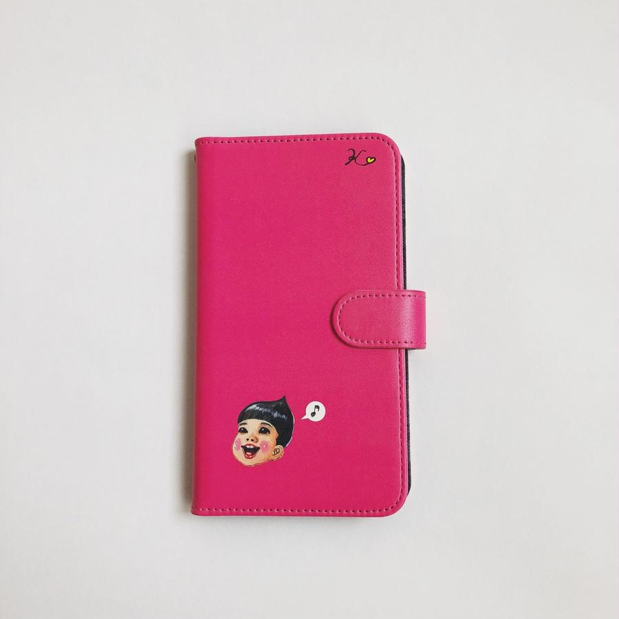 手帳型携帯ケース:I♡くんピンク(ほぼ全機種対応スライド式)