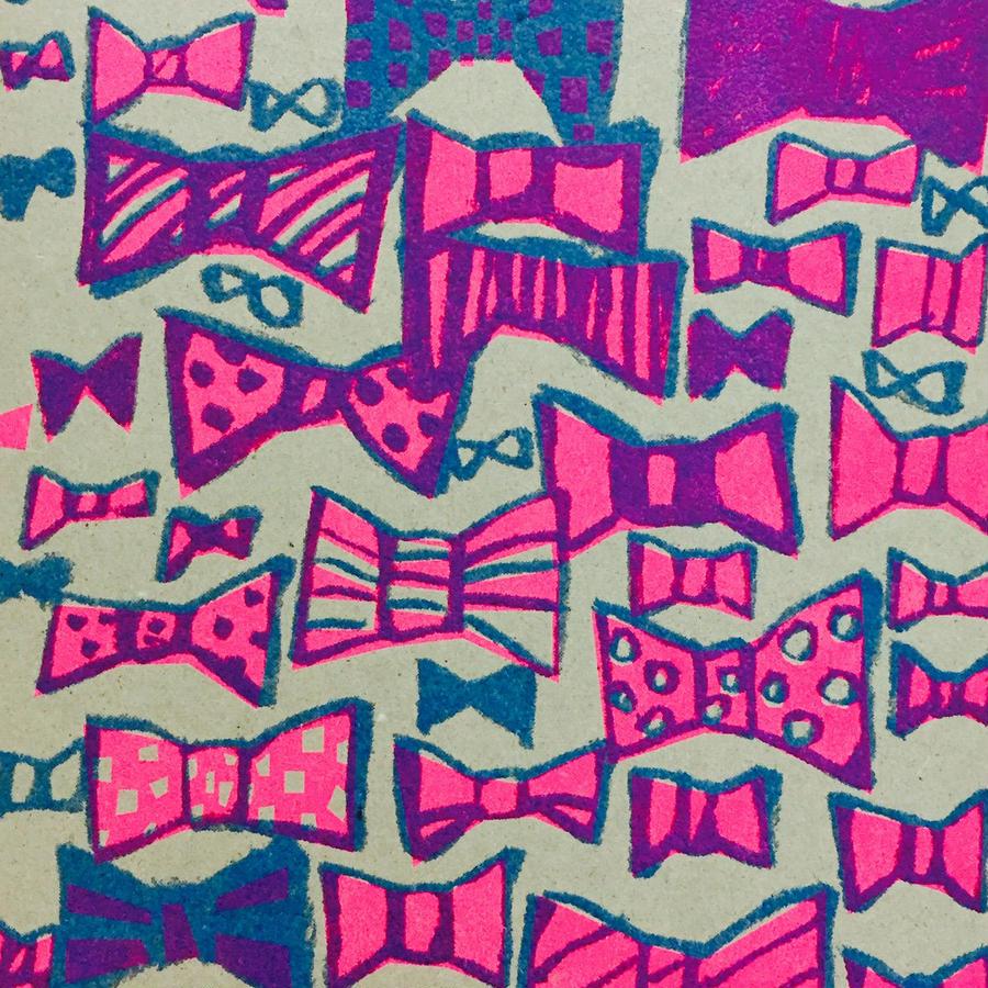 Postcard  Ribbon Pink&Blue