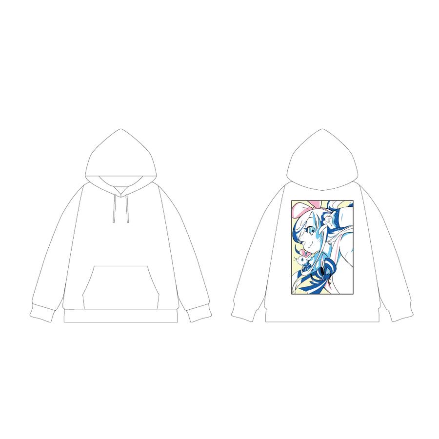 DE DE MOUSE × Kizuna AI プルオーバーパーカー White