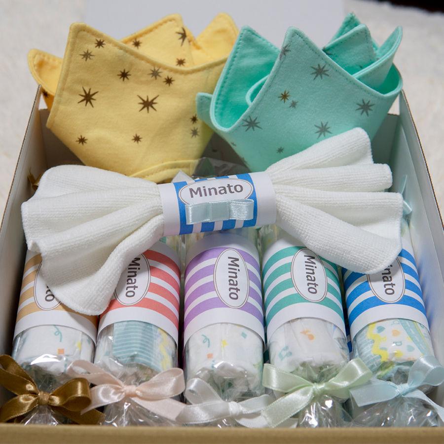 出産祝いに喜ばれる 名前入りおむつキャンディーとスタイのセット|ギフトボックス入り|おむつケーキ| =|=dprck-009