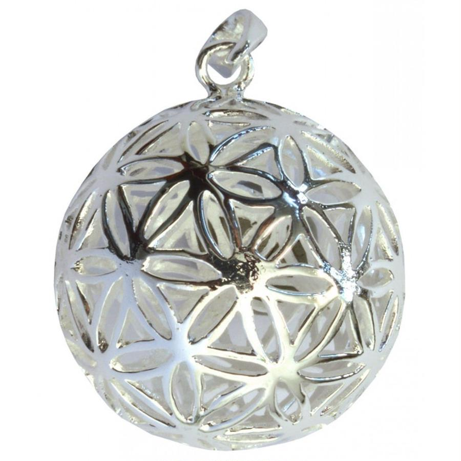 """flower of life"" brass silver plated ball pendant top  (sat005)"