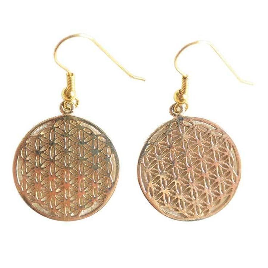 """""""flower of life"""" brass pierced earrings (sap001)"""