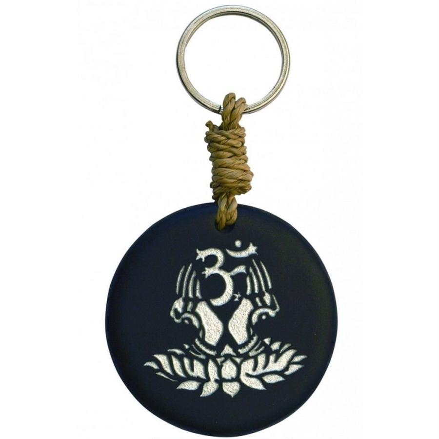 """om lotus"" stone key ring -black/silver-   (sk003)"