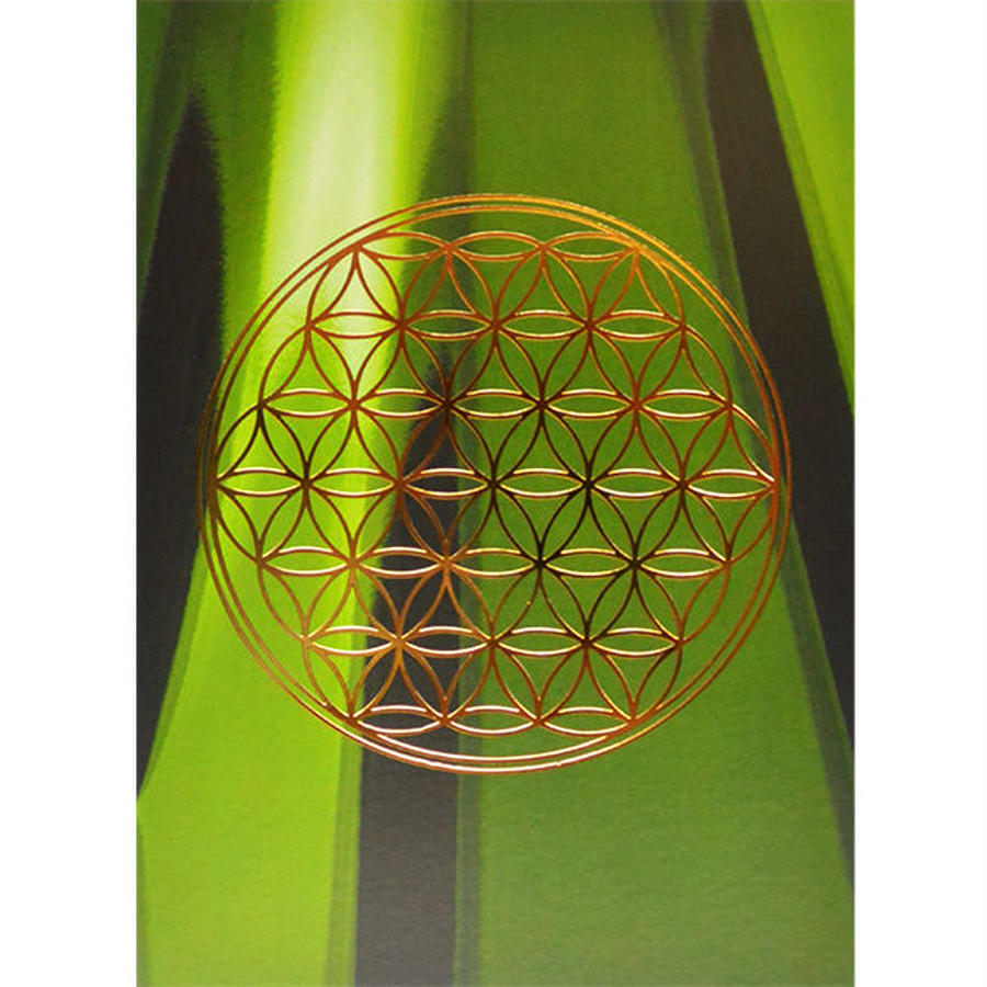 """flower of life"" postcard -green bamboo × gold- (spc003-3)"