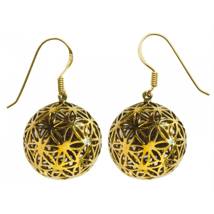 """flower of life"" gold brass ball pierced earrings (sap005)"