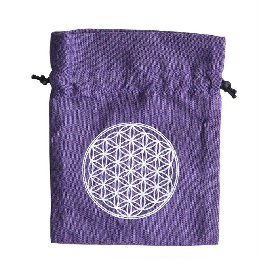 """flower of life""  hand made cotton pouch -purple- (sp003)"