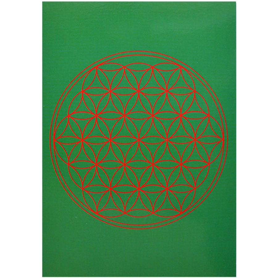 """flower of life""  postcard -green- (spc002-4)"