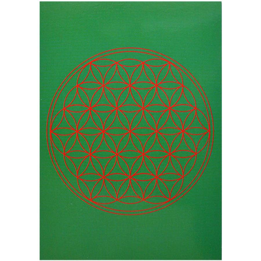 """flower of life""  postcard -green- (spc002-4)"