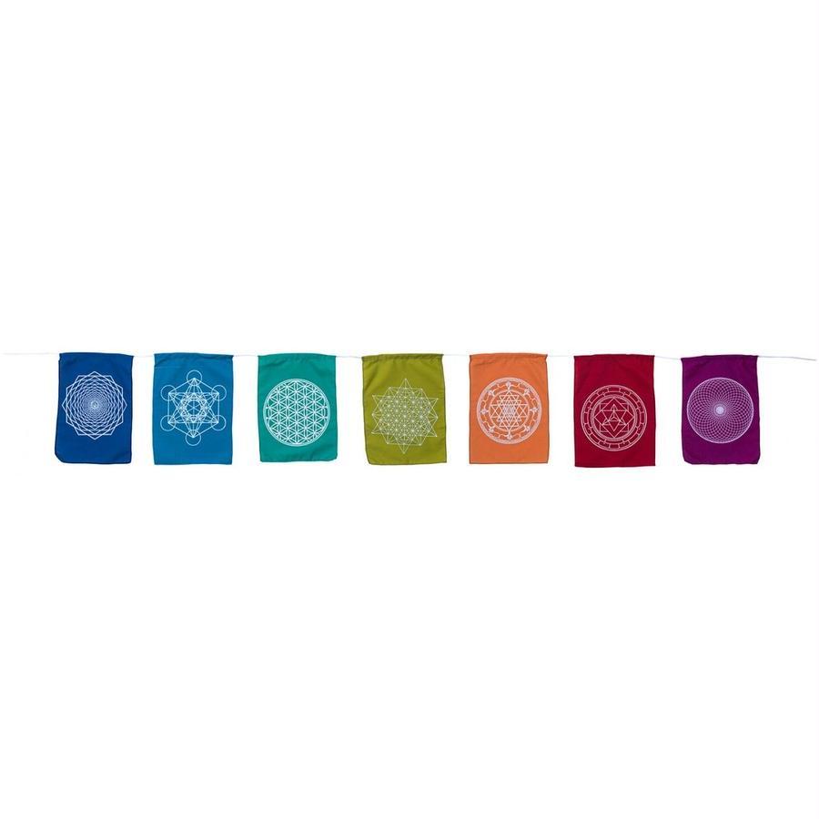 """sacred geometry"" cotton chakra 7 colour  rainbow flag  (sf001)"