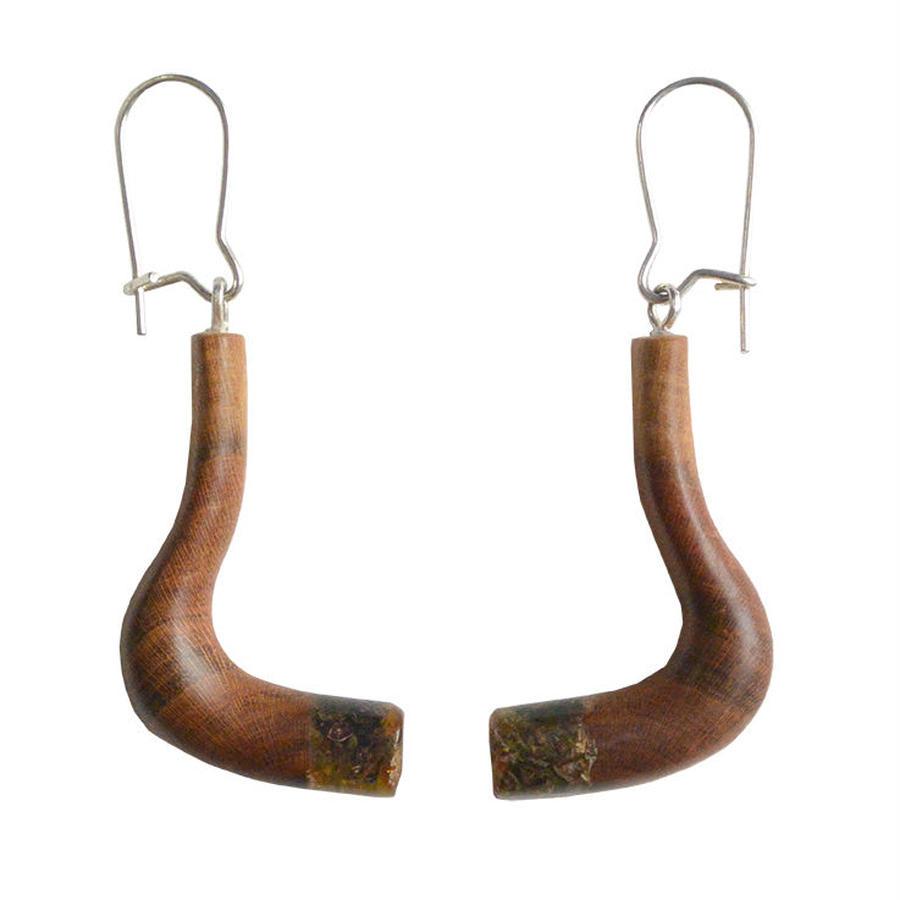 handmade amber×wood pierced earring (wp003-d)