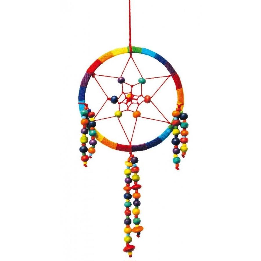 """Dreamcatcher"" Mandella with wooden beads -multicolour-  (sdc002)"
