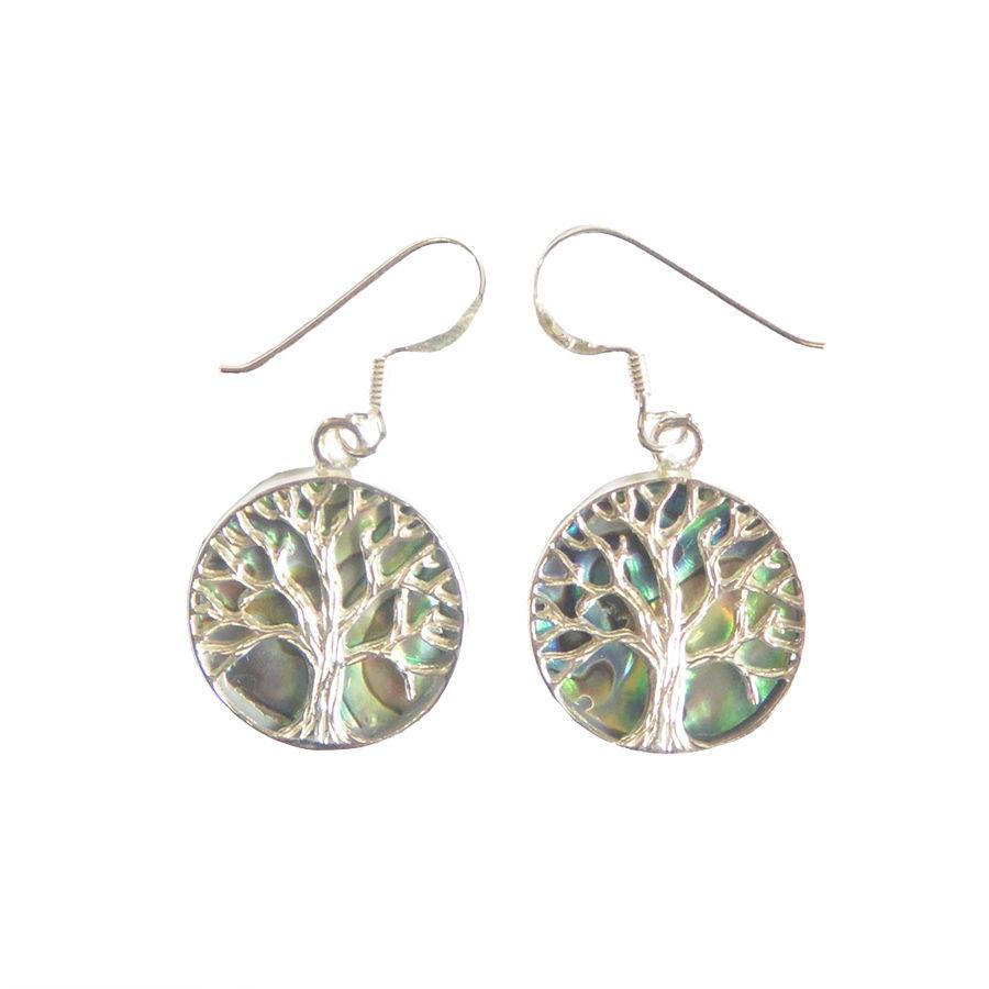 """""""tree of life"""" silver 925 × Shell   pierced earrings (sap004)"""