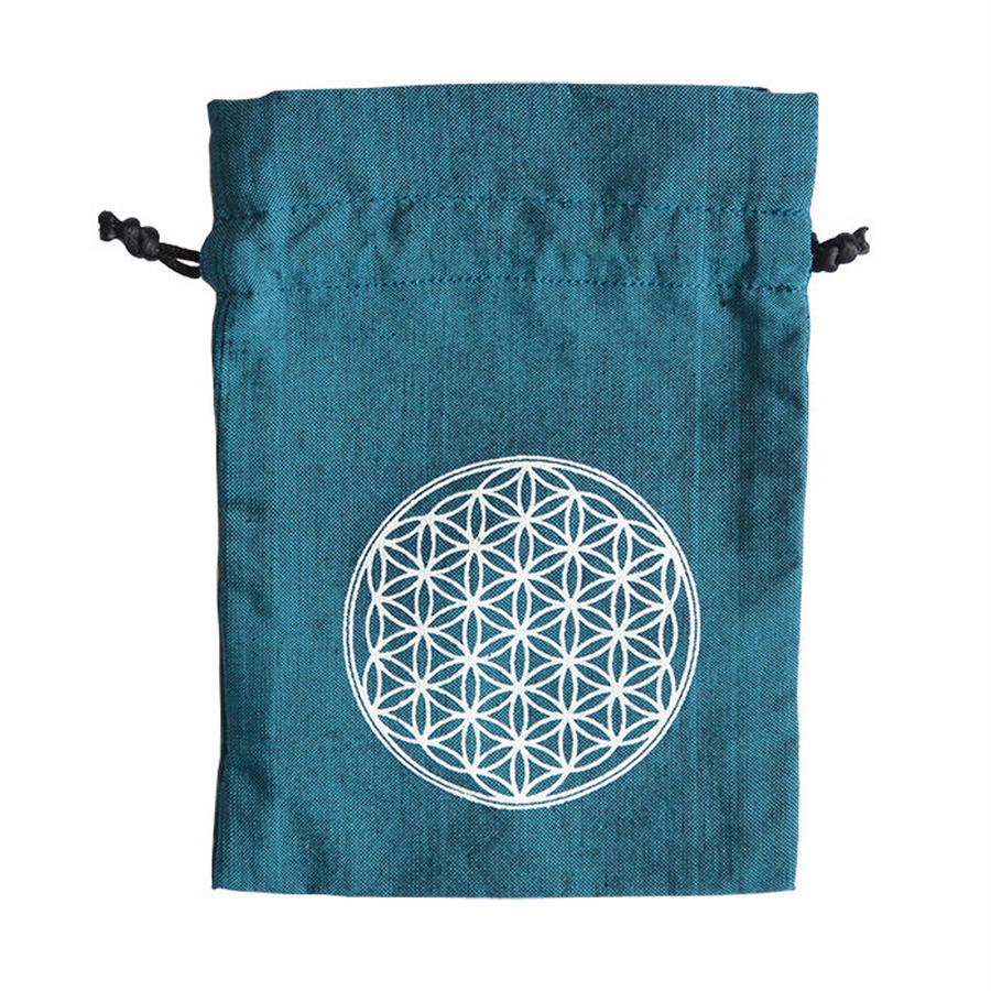 """flower of life""  hand made cotton pouch  -turquoise-  (sp002)"