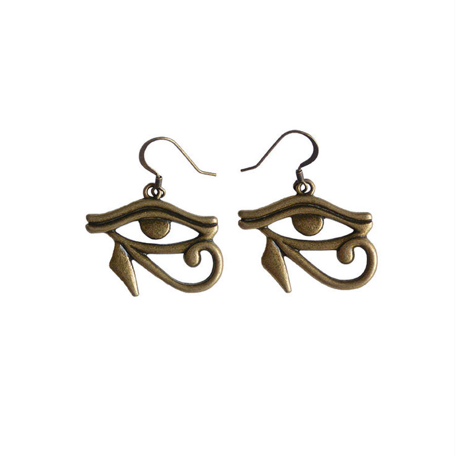 """eye of horus"" brass pierced earrings (ja002)"