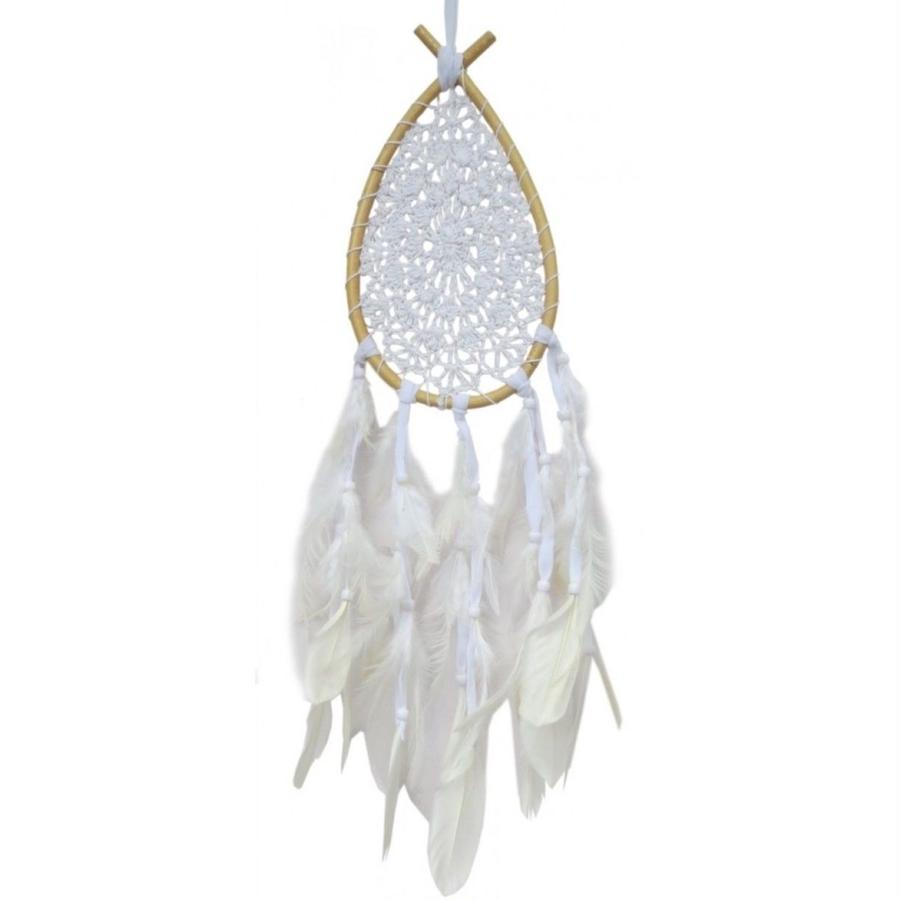 """Dreamcatcher""  White Drop rattan with crocheted net (sdc005)"