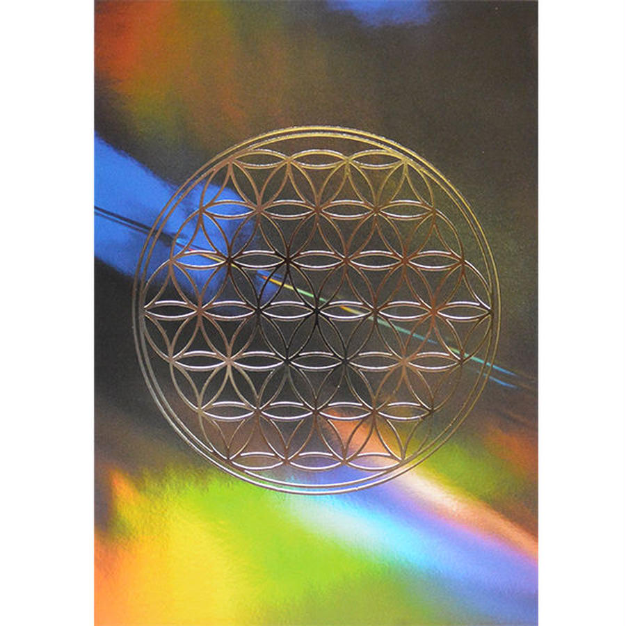 """flower of life"" postcard -rainbow graphic × silver - (spc003-1)"