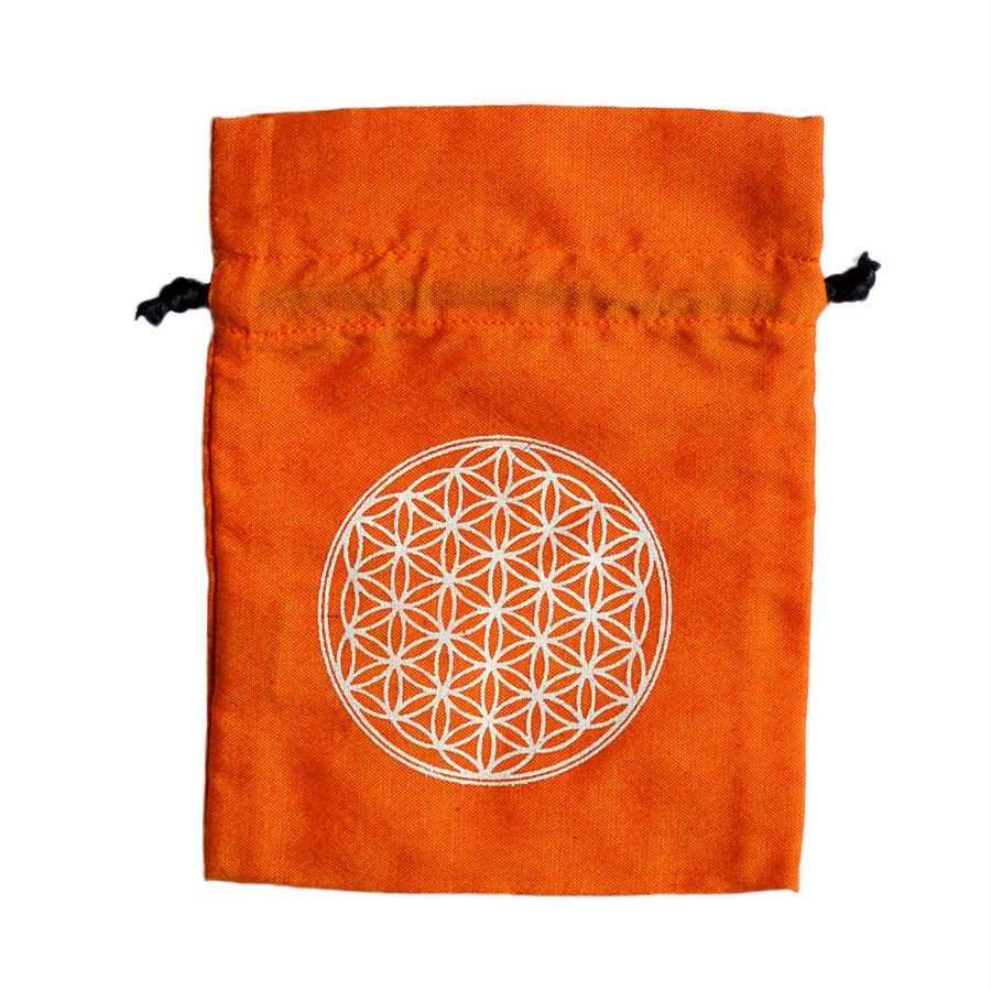 """flower of life"" hand made cotton pouch  -orange-  (sp001)"