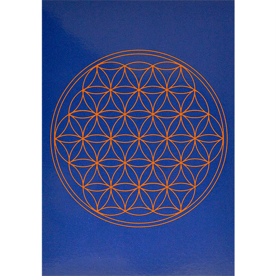"""flower of life""  postcard -indigo- (spc002-6)"