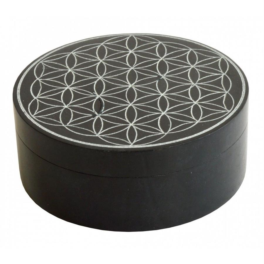 """flower of life"" black stone box   (sbx001)"
