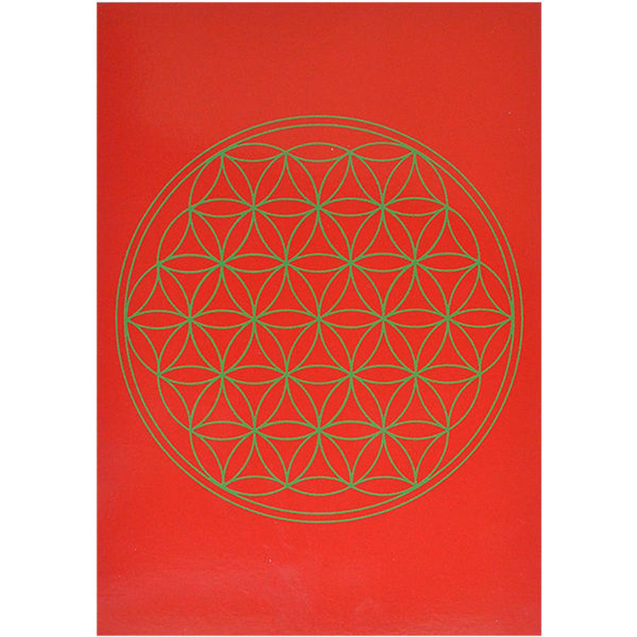"""flower of life""  postcard -red- (spc002-1)"