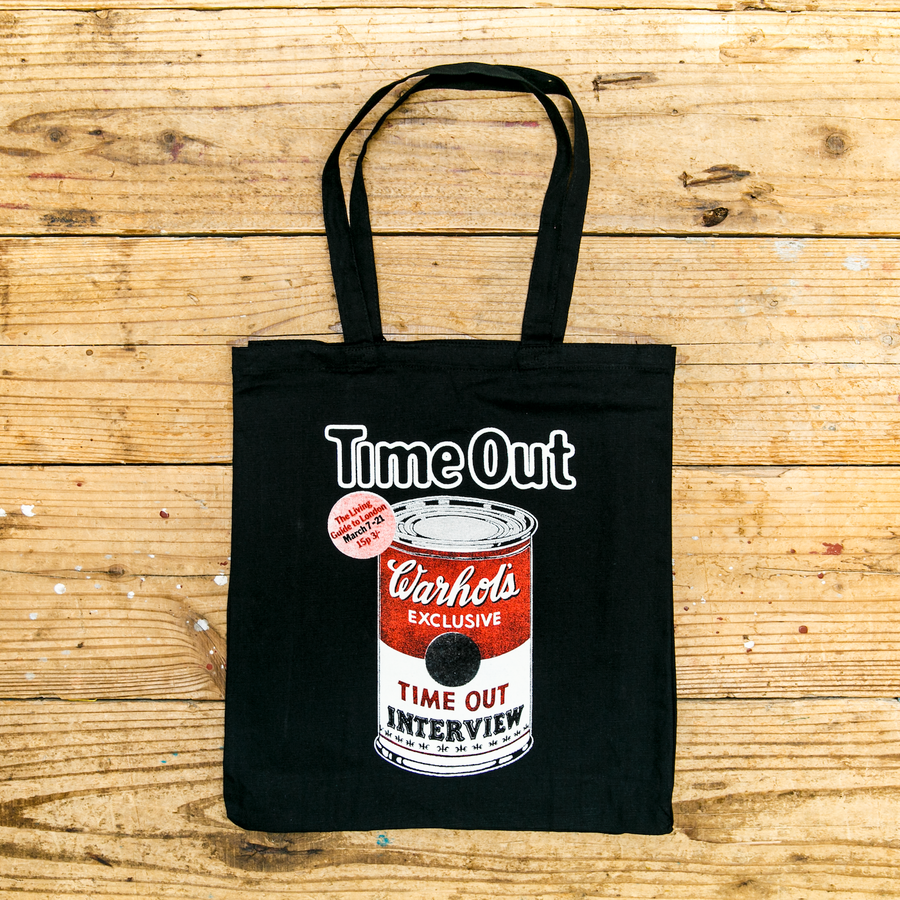 Time Out 'Warhol' black canvas tote bag