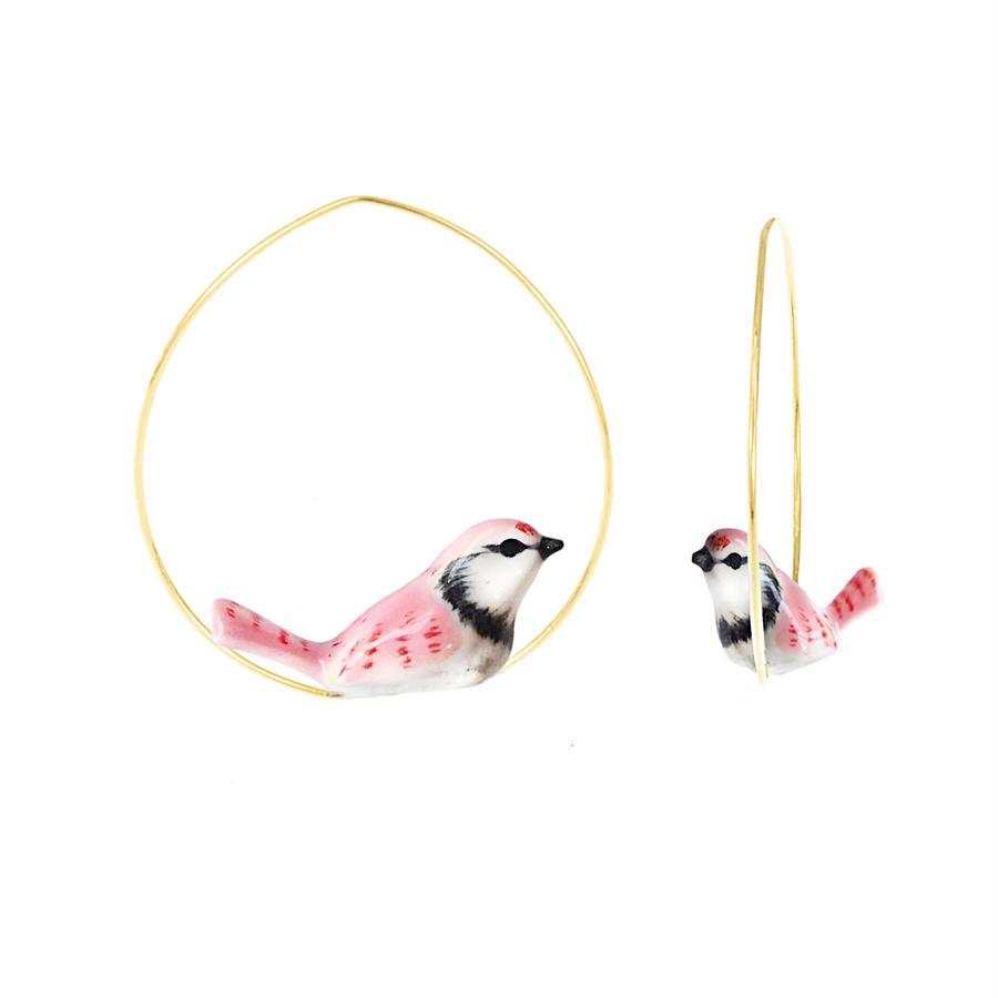 Pink jay bird フープピアス Nach