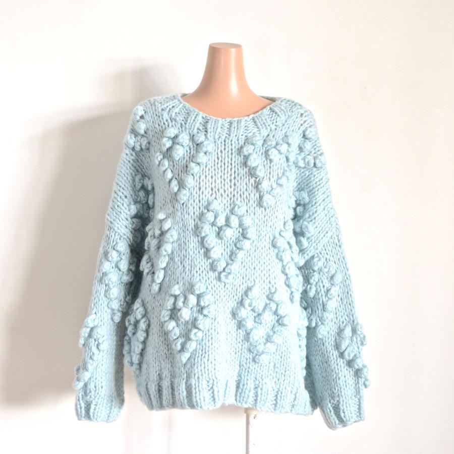 Heart ponpon knit  Blue
