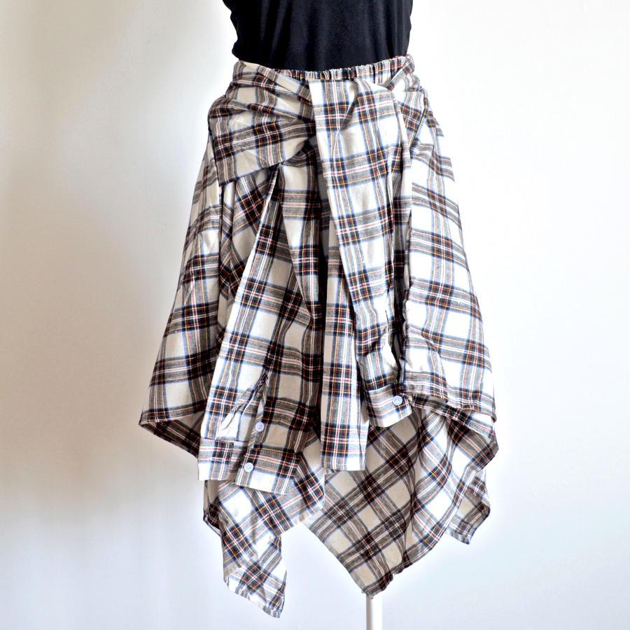 ケアオブユー  チェックシャツ風アシンメトリースカート  エクリュ