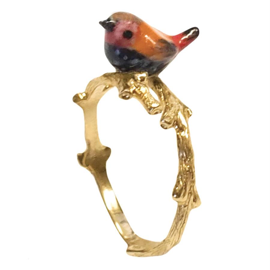 Pink throated twinspot bird branch ring Nach