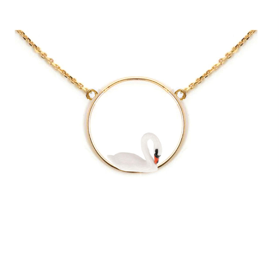 White swan round necklace Nach