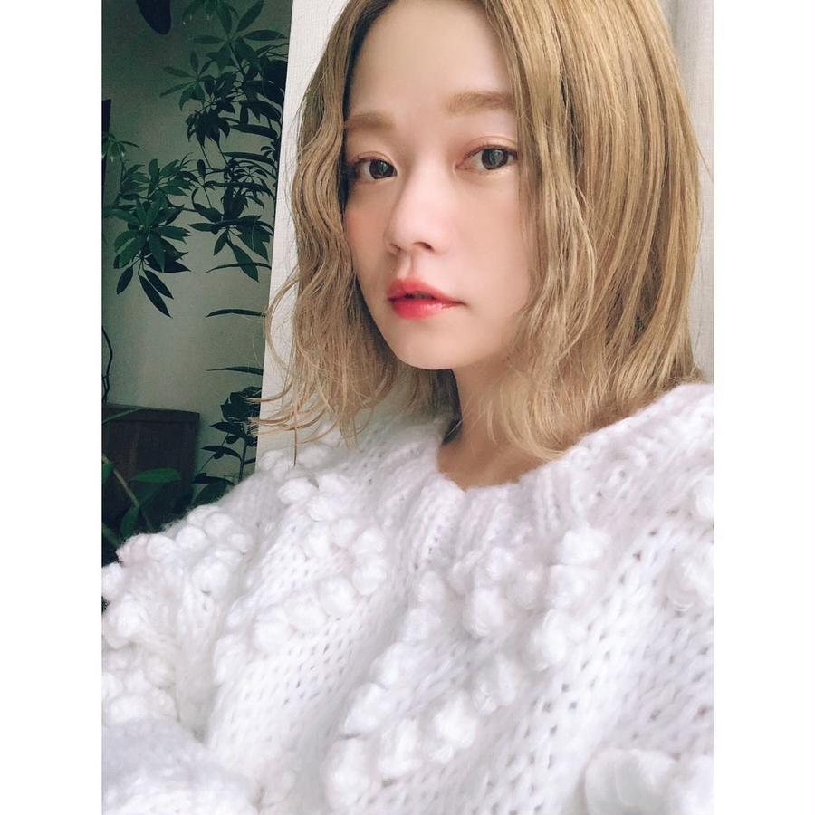 Heart ponpon knit  White