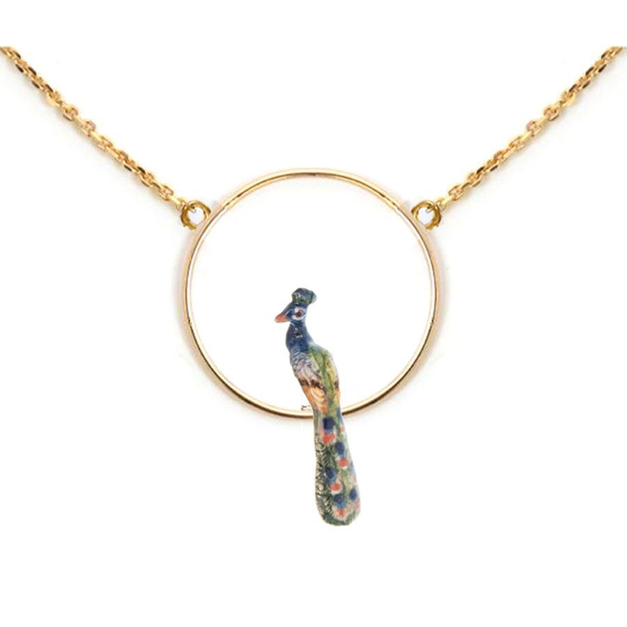 Peacock round mini necklace