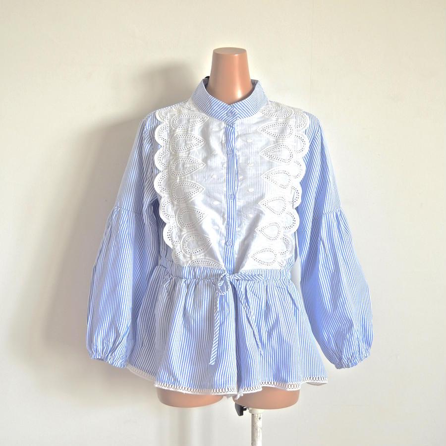 Stripe x  lace  cotton blouse  Brigitte  Bardot