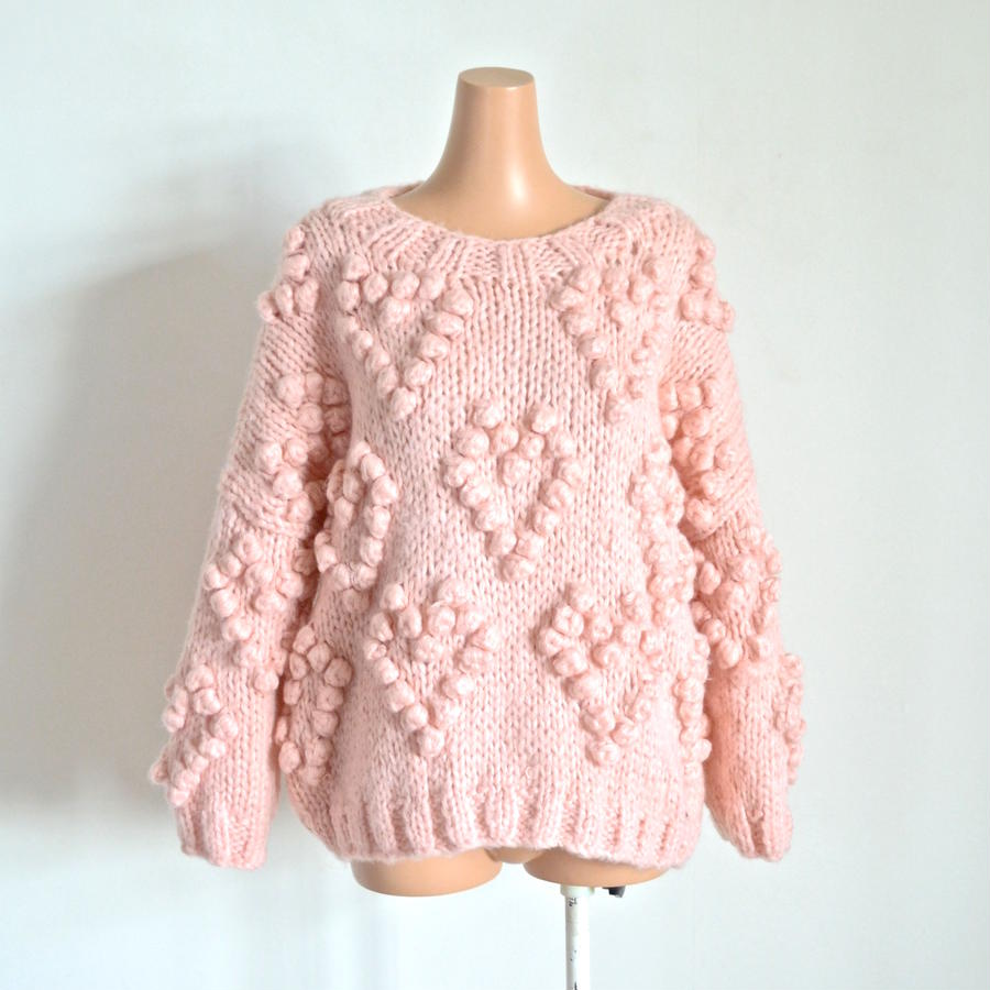 Heart ponpon knit  Pink