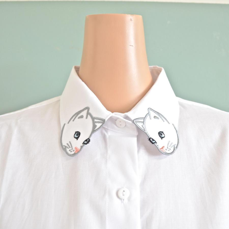 ホワイトキャット刺繍 シャツ Nach