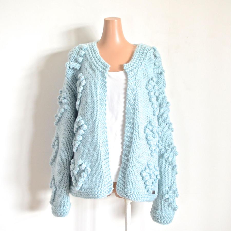 Heart ponpon knit Cardigan Blue