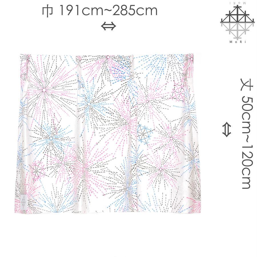 """【MoRi MoRi CURTAIN】 オーダーカーテン:"""" 花火 """" 巾191cm~285cm・丈 50cm~120cm(遮光裏地付)"""