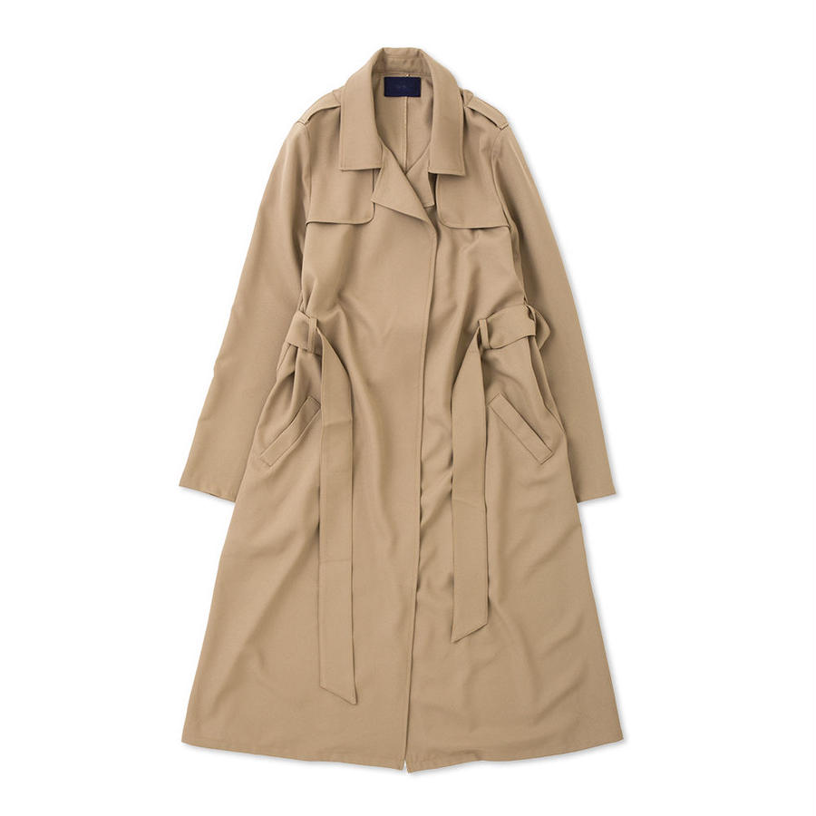 PA7SS-CT02  GEORGETTE BUTTONLESS TRENCH COAT