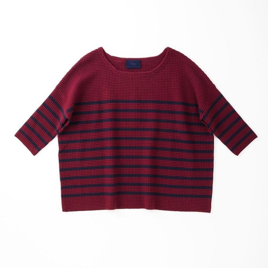 PA7AW-KT13 WIDE PULLOVER - WAFFLE BORDER KNIT