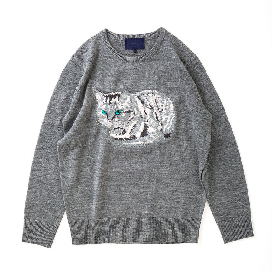 CA7AW-KT01 WHITE CAT KNIT