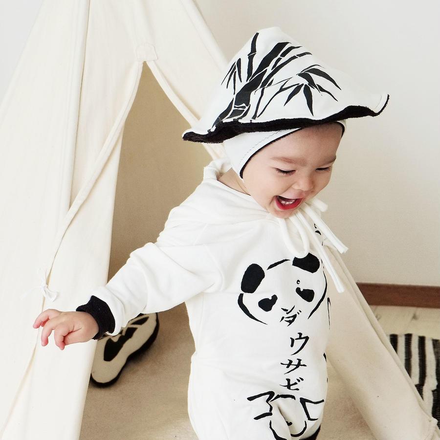 Hand printed bamboo baby winter hat | 竹林の笠タイプの赤ちゃん帽子