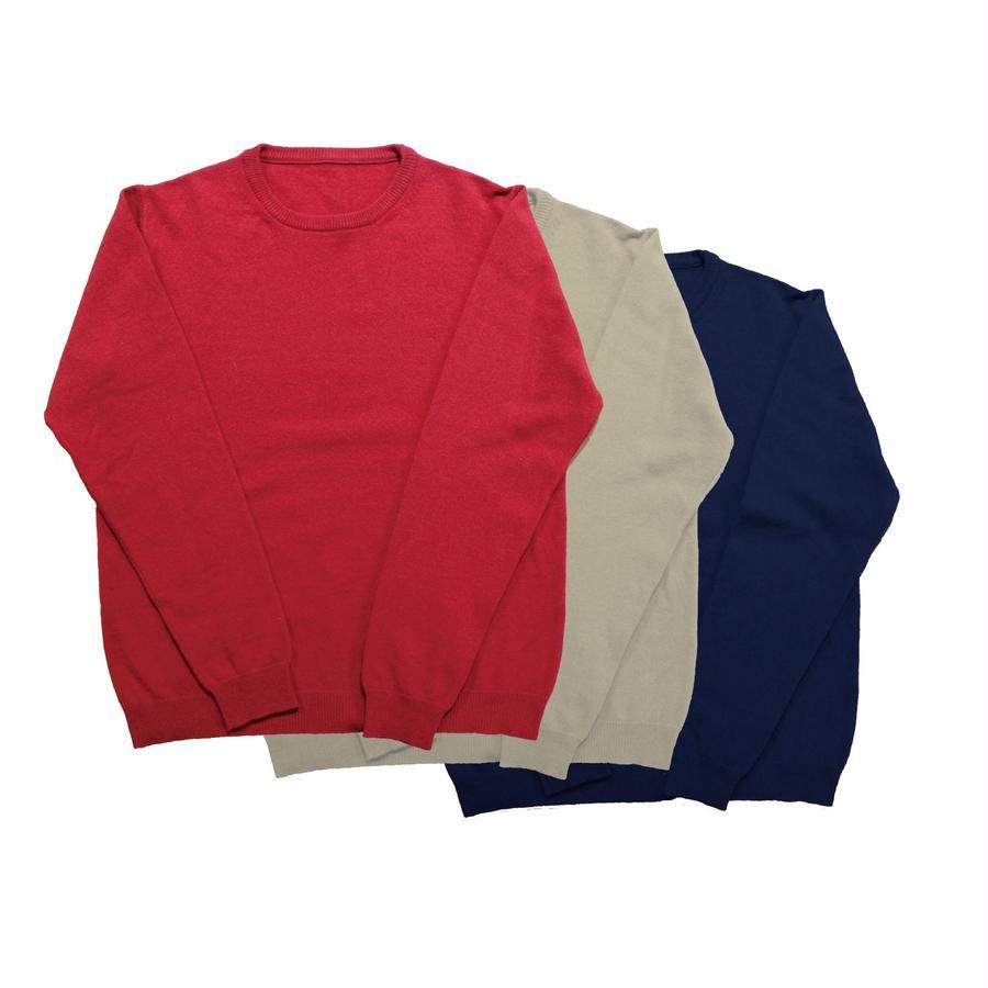 ウールのクルーネックセーター